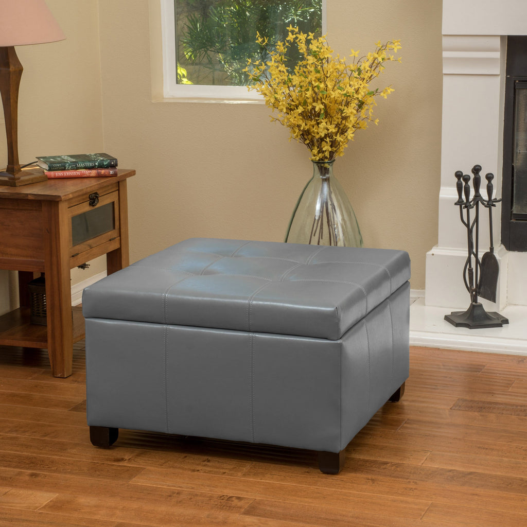Kensington Leather Square Storage Ottoman Coffee Table