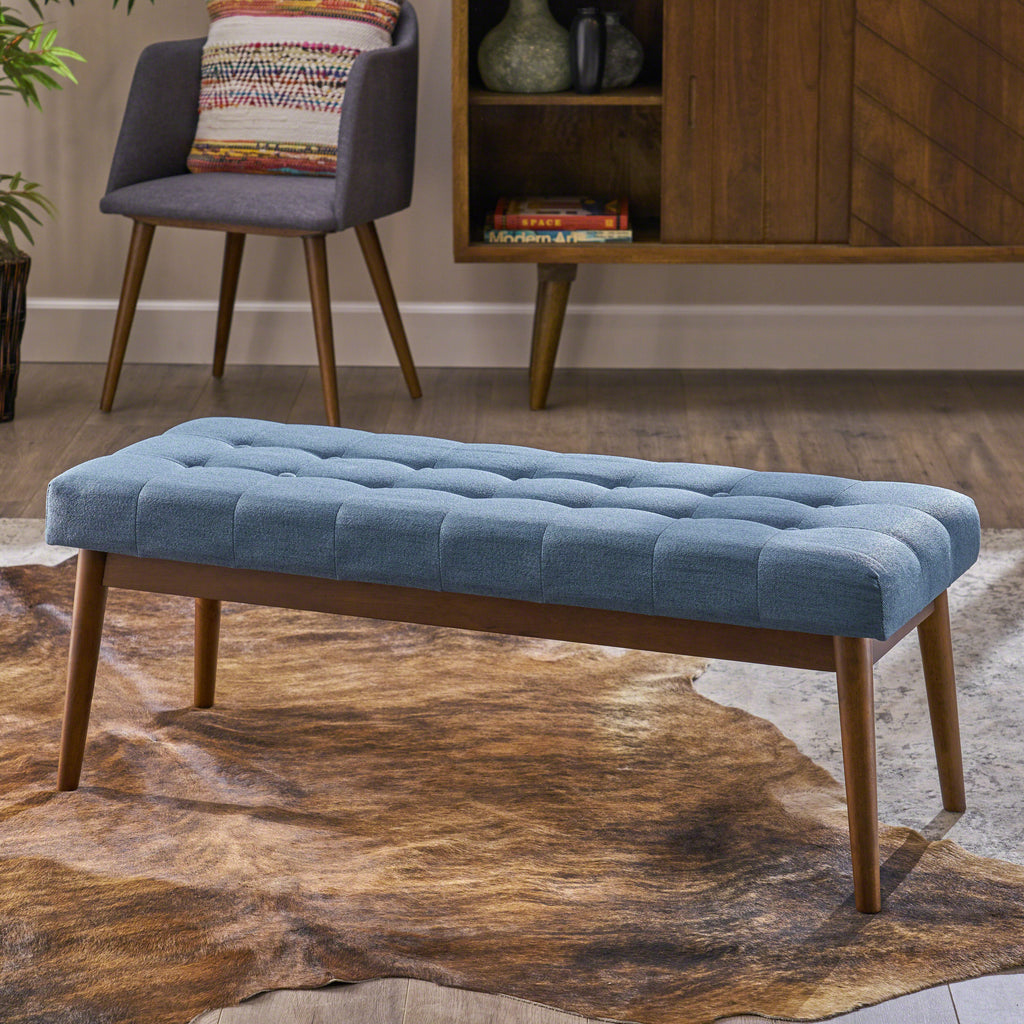 Flora Mid-Century Button Tufted Fabric Ottoman Bench with Tapered Legs