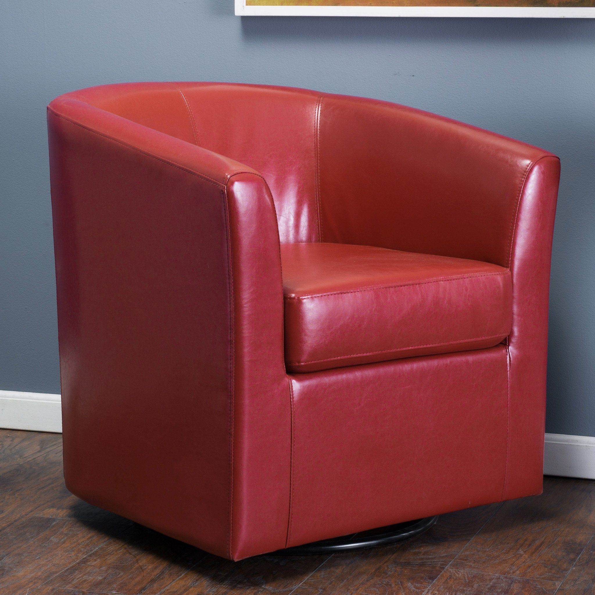 Corley Modern Upholstered Faux Leather Swivel Barrel Club Chair Gdfstudio