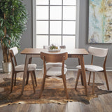 Meanda Mid Century Finished 5 Piece Wood Dining Set With