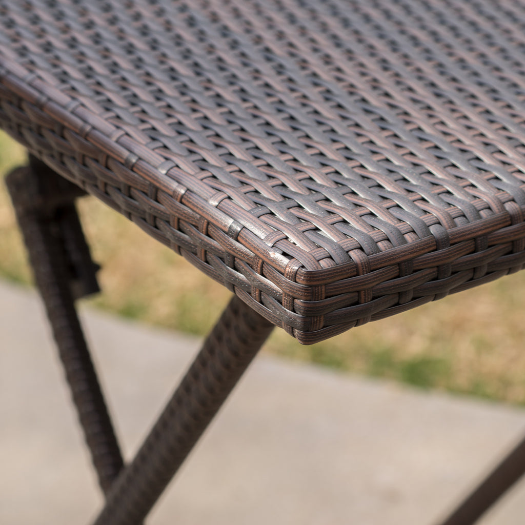 Marinelli Outdoor Folding Multi-Brown Wicker Square Bar Table