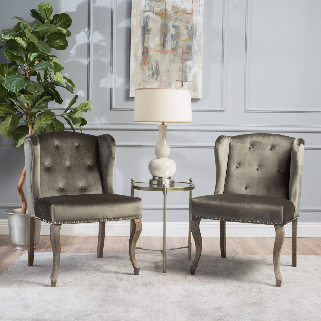 Natalia traditional wingback velvet accent chairs w/ nailhead accents