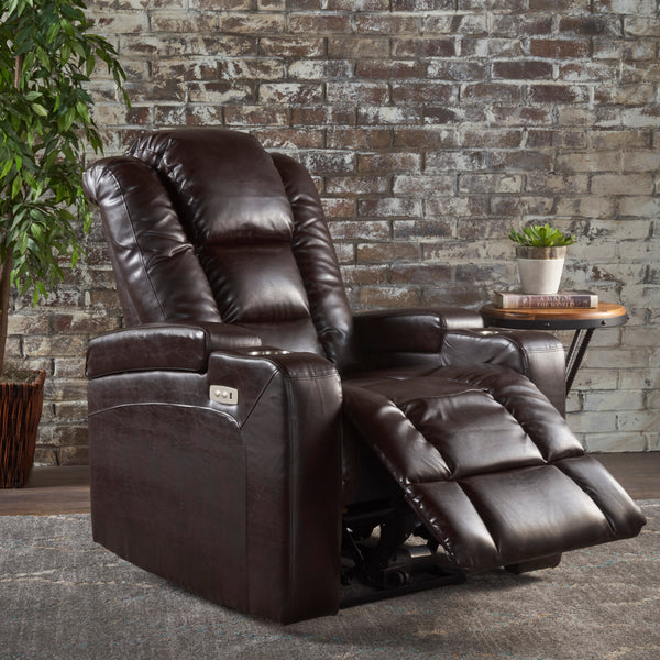 Everette Tufted Brown Leather Power Recliner With Arm
