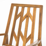 Noble Outdoor Geometric Teak Acacia Wood Rocking Chair with Accent Table