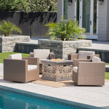 Venice Outdoor 5 Piece Chat Set with Brown Wicker Club Chairs and Fire Pit