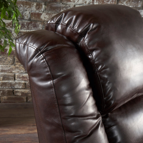 Wondrous Everette Tufted Brown Leather Power Recliner With Arm Storage And Usb Cord Pdpeps Interior Chair Design Pdpepsorg