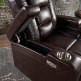 Beau Everette Tufted Brown Leather Power Recliner With Arm Storage And USB Cord