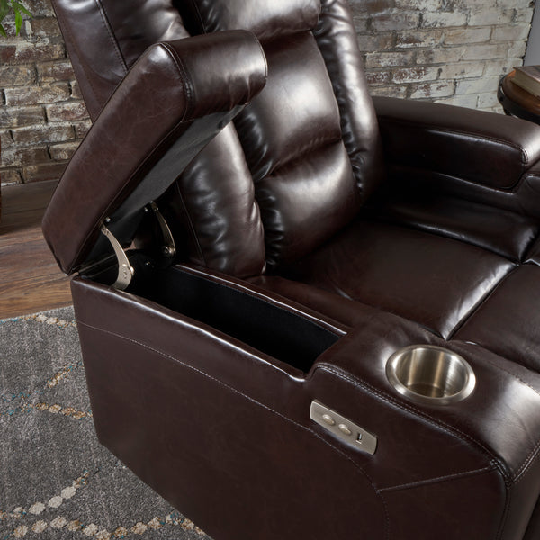 Admirable Everette Tufted Brown Leather Power Recliner With Arm Storage And Usb Cord Pdpeps Interior Chair Design Pdpepsorg