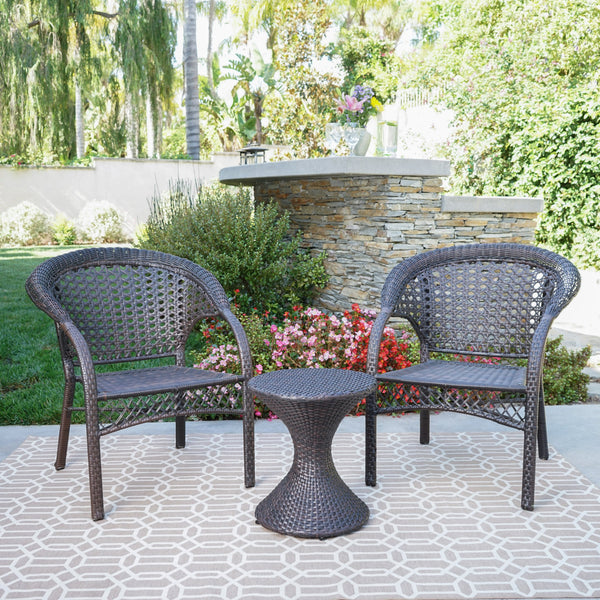 Bradley Outdoor 3 Piece Multi Brown Wicker Chat Set With
