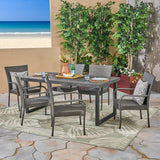 Salome Outdoor 7 Piece Acacia Wood Dining Set with Stacking Wicker Chairs, Sandblast Dark Gray and Gray