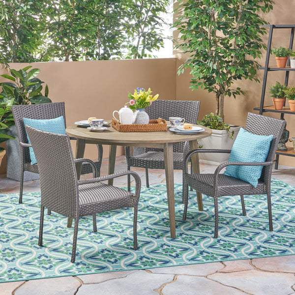 Ivey Outdoor 5 Piece Wood and Wicker Dining Set