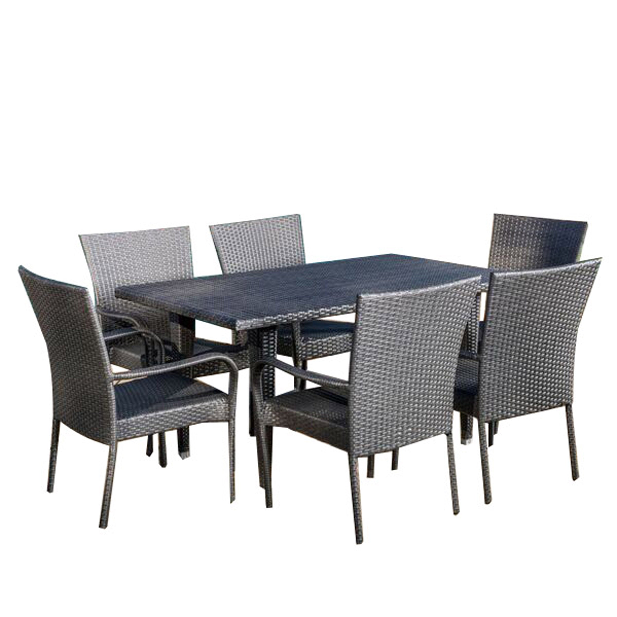 Antonio Outdoor 7 piece Grey Wicker Dining Set Default Title