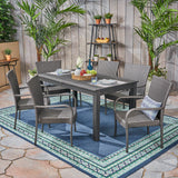 Ellis Outdoor 7 Piece Wood and Wicker Expandable Dining Set