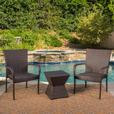 Bakerville Outdoor 3 Piece Multi-Brown Wicker Chat Set with Stacking Chairs
