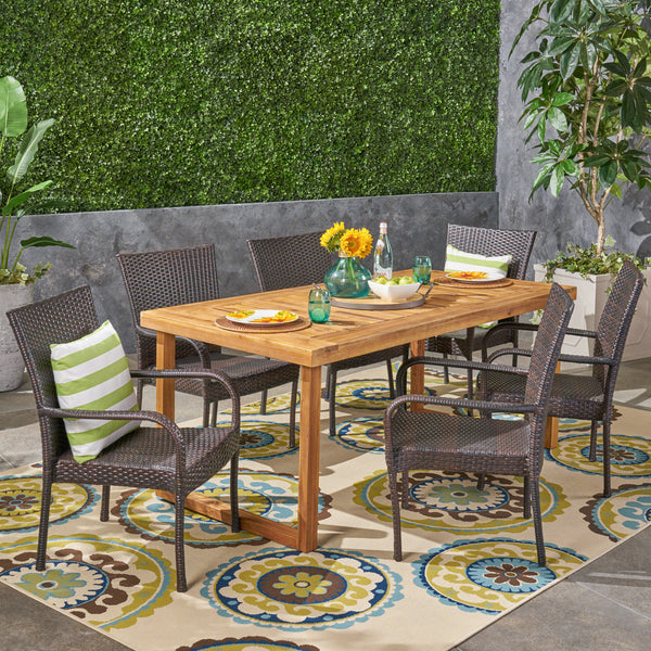 Louis Outdoor 7 Piece Acacia Wood Dining Set with Stacking Wicker Chairs, Sandblast Natural and Multi Brown