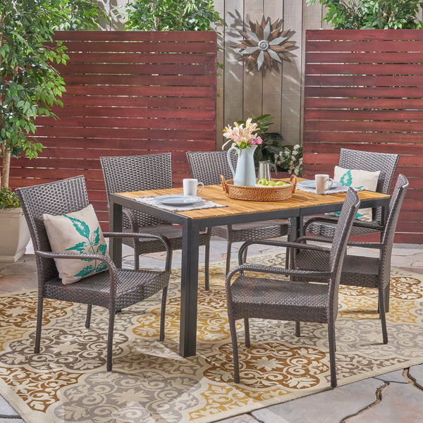 Lorraine Outdoor 6-Seater Rectangular Acacia Wood and Wicker Dining Set, Teak with Black and Multi Brown