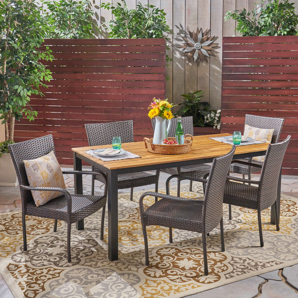 Una Outdoor 7 Piece Acacia Wood Dining Set with Stacking Wicker Chairs, Teak and Gray