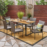 Fern Outdoor 6-Seater Rectangular Acacia Wood and Wicker Dining Set, Teak with Black and Multi Brown