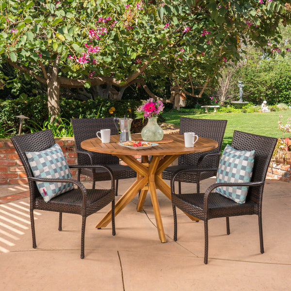 Andrew Outdoor 5 Piece Multibrown Wicker Dining Set with Teak Finish Circular Acacia Wood Dining Table