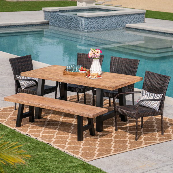 Allison Outdoor 6-Piece Stacking Wicker and Concrete Lightweight Dining Set with Natural Oak Finish  in Multibrown