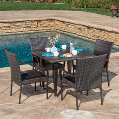 Dalmi Contemporary Outdoor 5pc Brown Wicker Dining Set