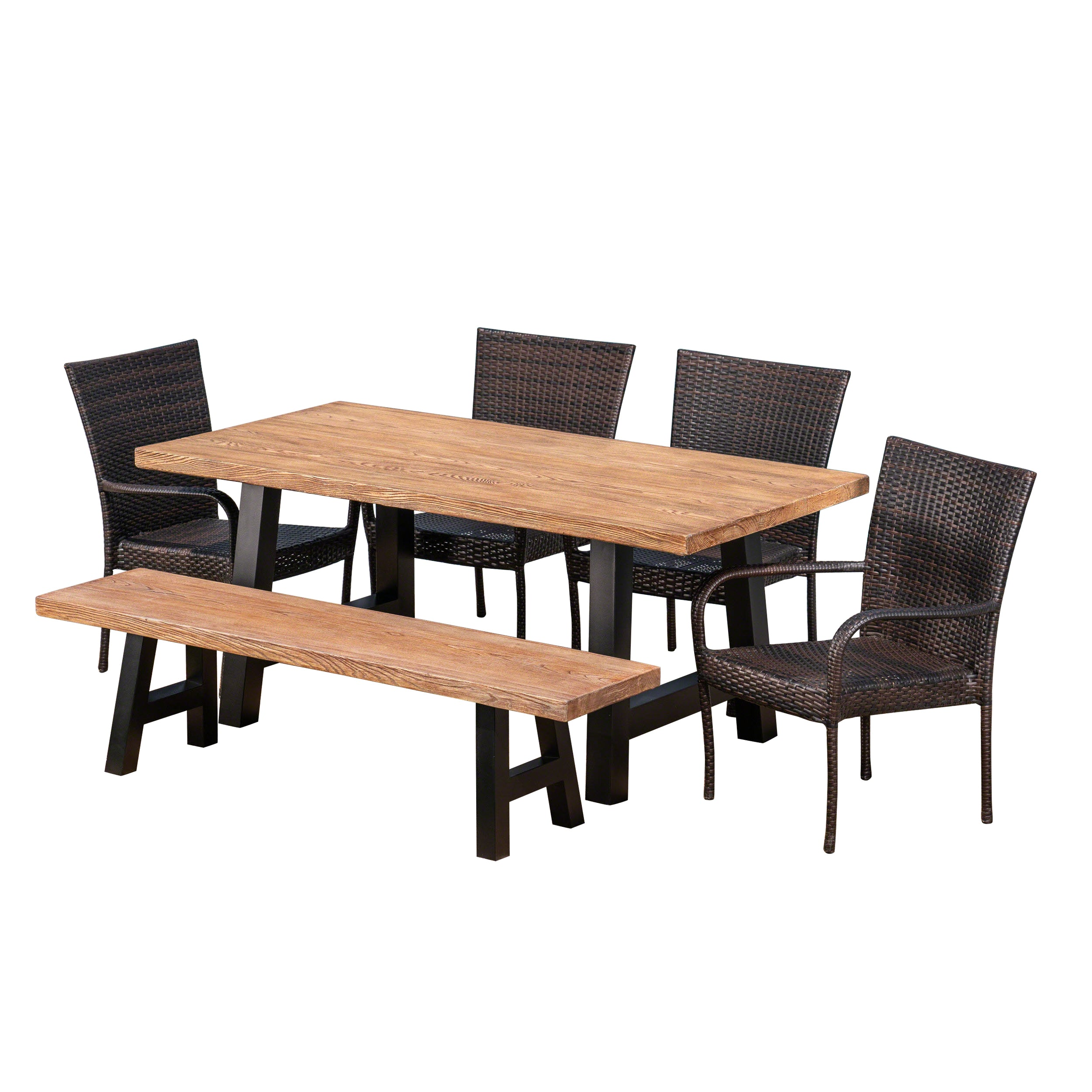 Allison Outdoor 6 Piece Stacking Wicker and Concrete Lightweight Dining Set with Natural Oak Finish in Multibrown Default Title