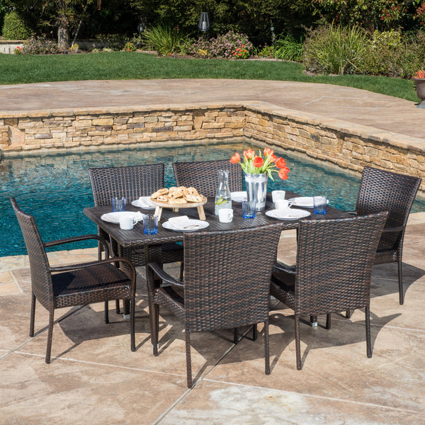 Yomunt Outdoor 7-Piece Multi-Brown Wicker Dining Set with Stackable Chairs