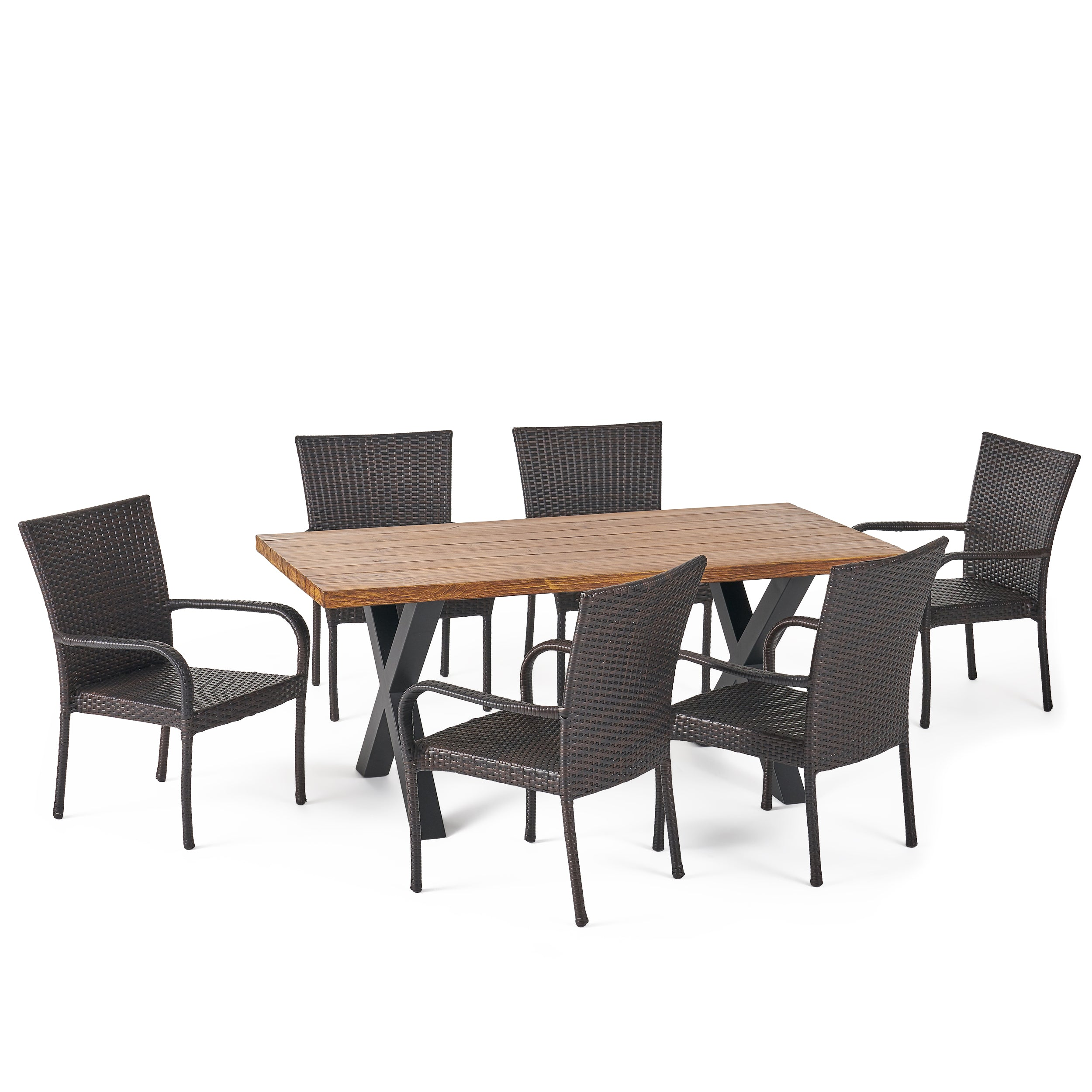 Amaryllis Outdoor 7 Piece Wicker Dining Set with Light Weight Concrete Table Default Title