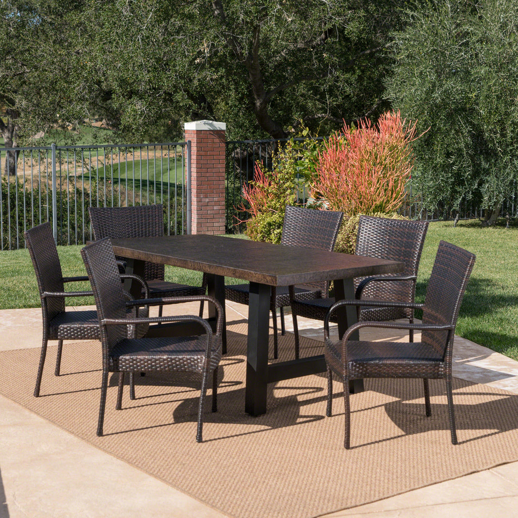 Daisy Outdoor 7 Piece Stacking Multi-brown Wicker and Concrete Dining Set