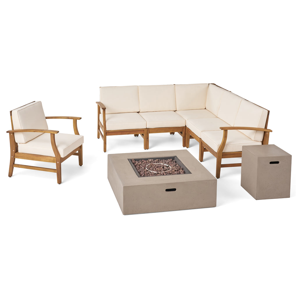 Nyeemah Outdoor 6 Seater Acacia Wood Sofa Set with Square Fire Table and Tank