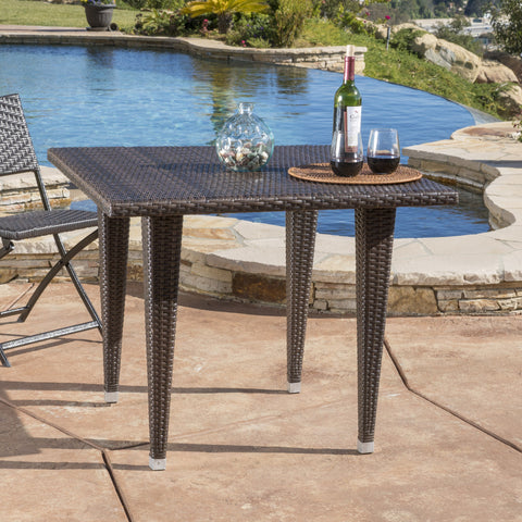 Wiren Contemporary Outdoor Brown Color PEWicker Square Table