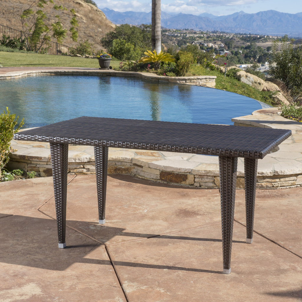 Medens Contemporary Outdoor Multi Brown Polyethylene Rectangle Table