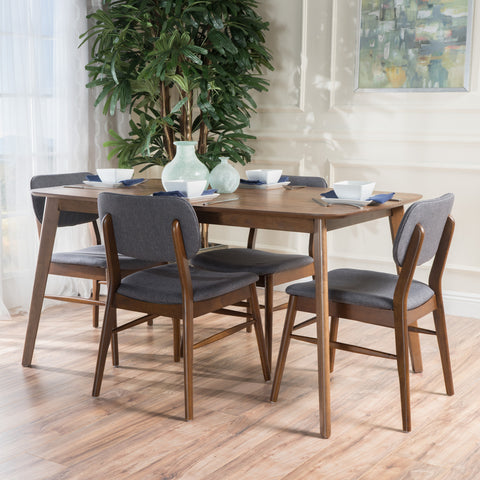 Beatrice Mid-Century Design 5 PC Wood Finished Dining Set