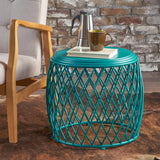 Brassel Indoor 19 Inch Diameter Lattice Matte Finish Iron Side Table