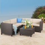 Valona Outdoor Wicker V Shaped Sectional Sofa Set