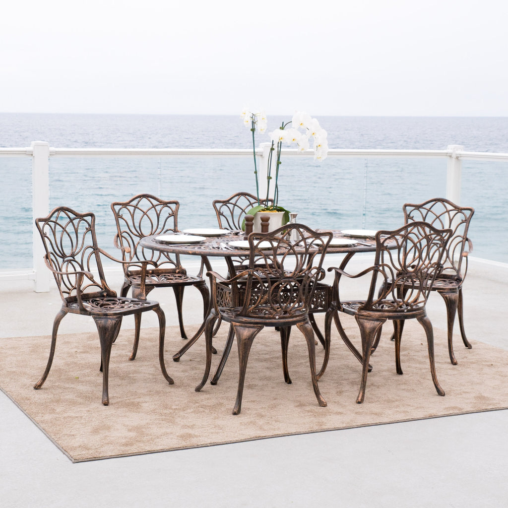 Jameson Home Haitian Outdoor Cast Aluminum Oval Dining Table U2013 GDF Studio