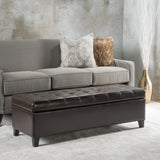 Santa Rosa Brown Tufted Leather Storage Ottoman Bench