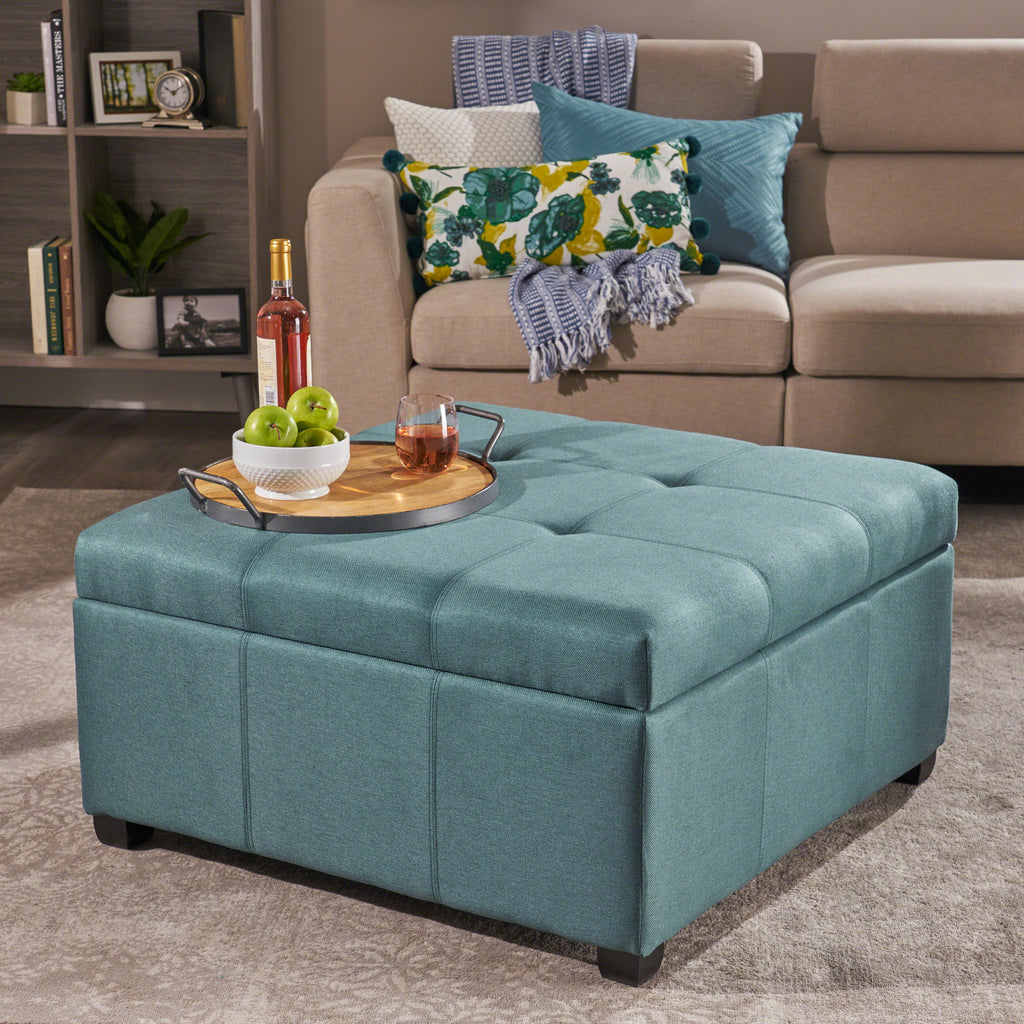 Carlyle Square Tufted Fabric Storage Ottoman Coffee Table Gdfstudio