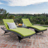 Lakeport 3pc Outdoor Wicker Chaise Lounge Chair & Table Set