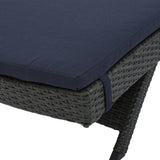 Nassau Outdoor Grey Wicker Adjustable Chaise Lounge with Navy Blue Cushion (Set of 2)