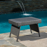 Akehurst Outdoor Gray Wicker Adjustable Folding Side Table