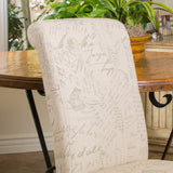 Cosette Script Printed Beige Linen Dining Chairs (Set of 2)