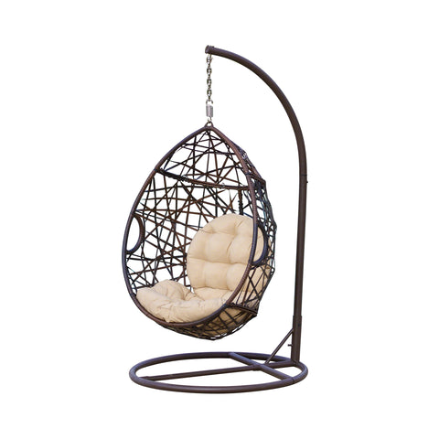 Berkley Outdoor Brown Wicker Hanging Teardrop / Egg Chair