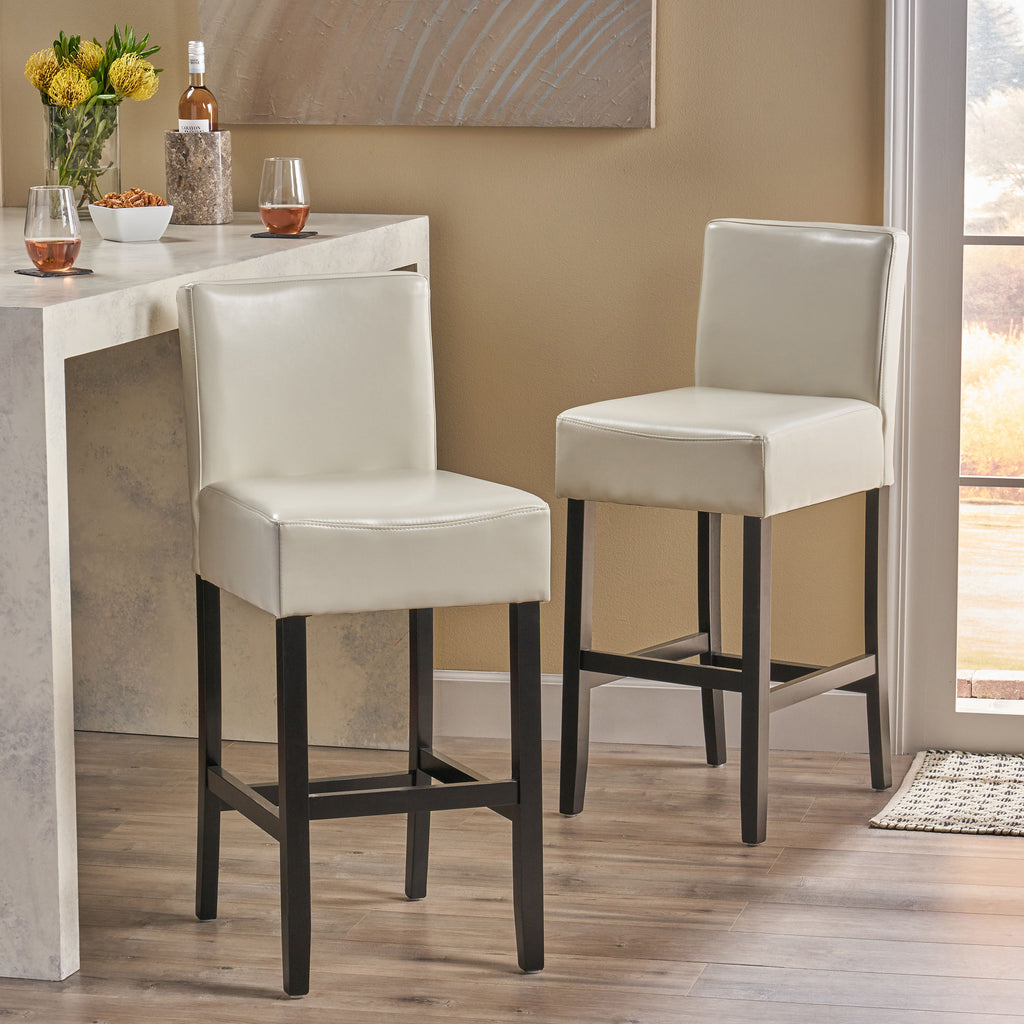 Lowry Contemporary Upholstered Ivory Bonded Leather Backed Barstools (Set of 2)