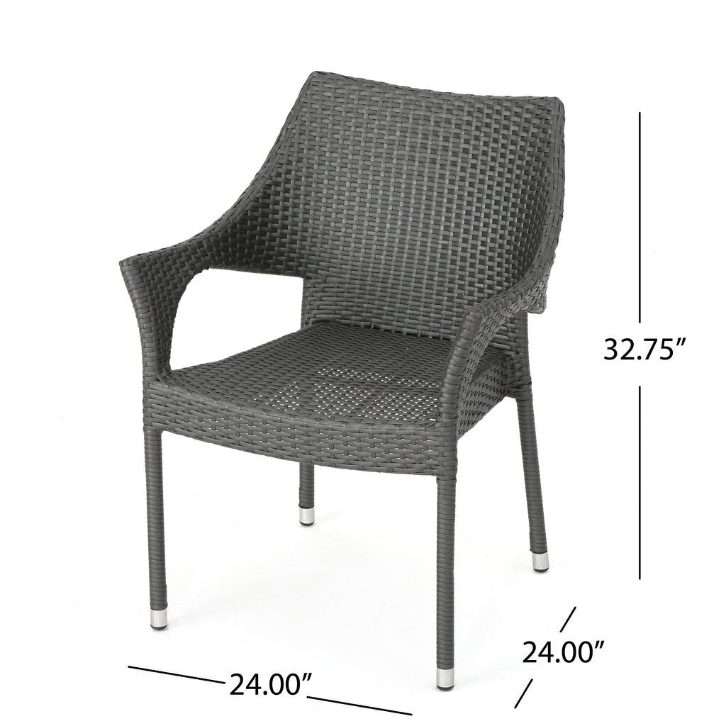 Melisandre Outdoor Grey Wicker Stacking Chairs (Set of 4)