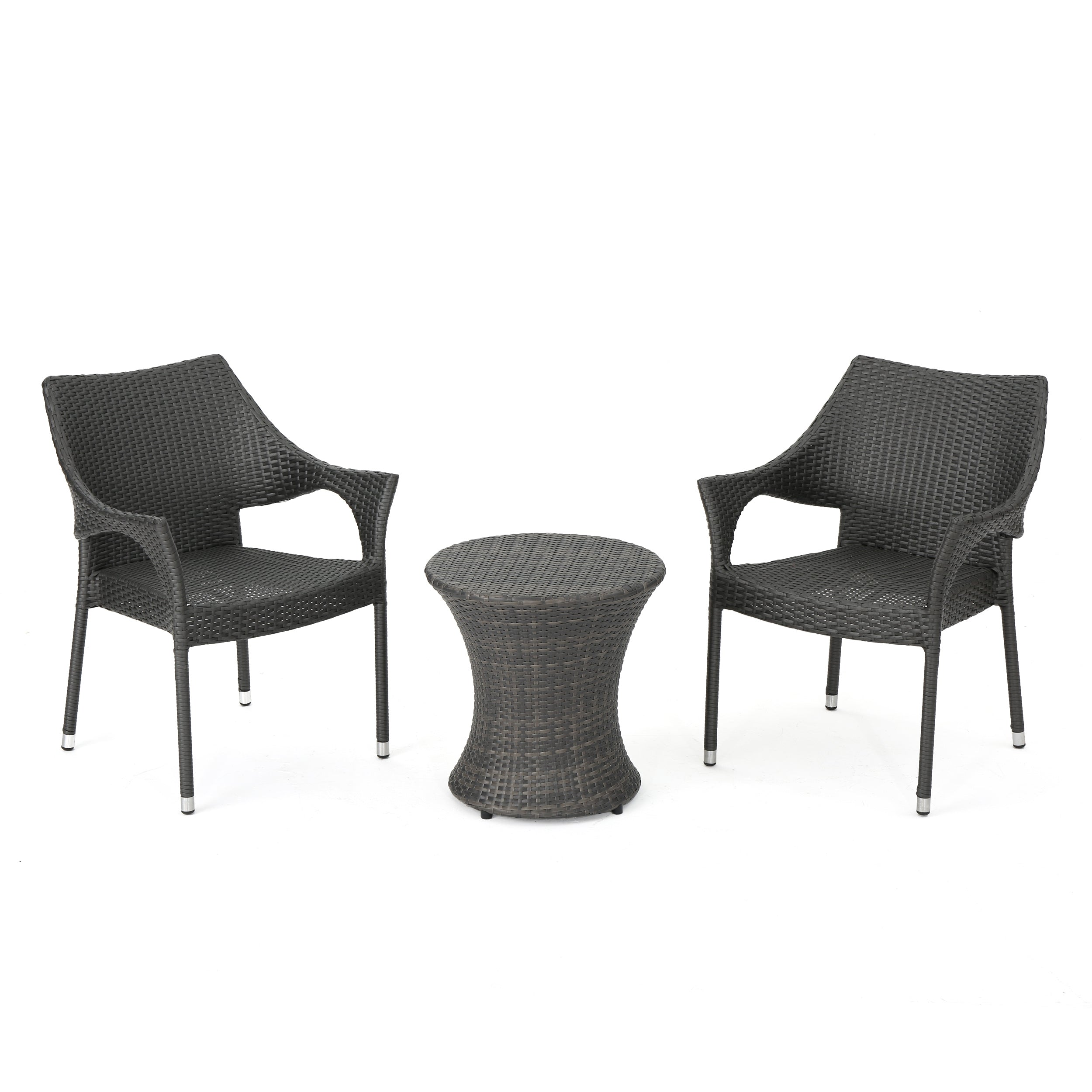 Alfheimr Outdoor 3 Piece Grey Wicker Stacking Chair Chat Set Hour Glass Table