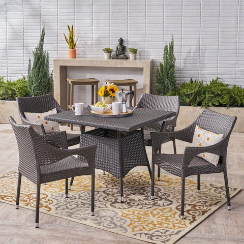Anne Outdoor 5 Piece Wicker Dining Set, Grey