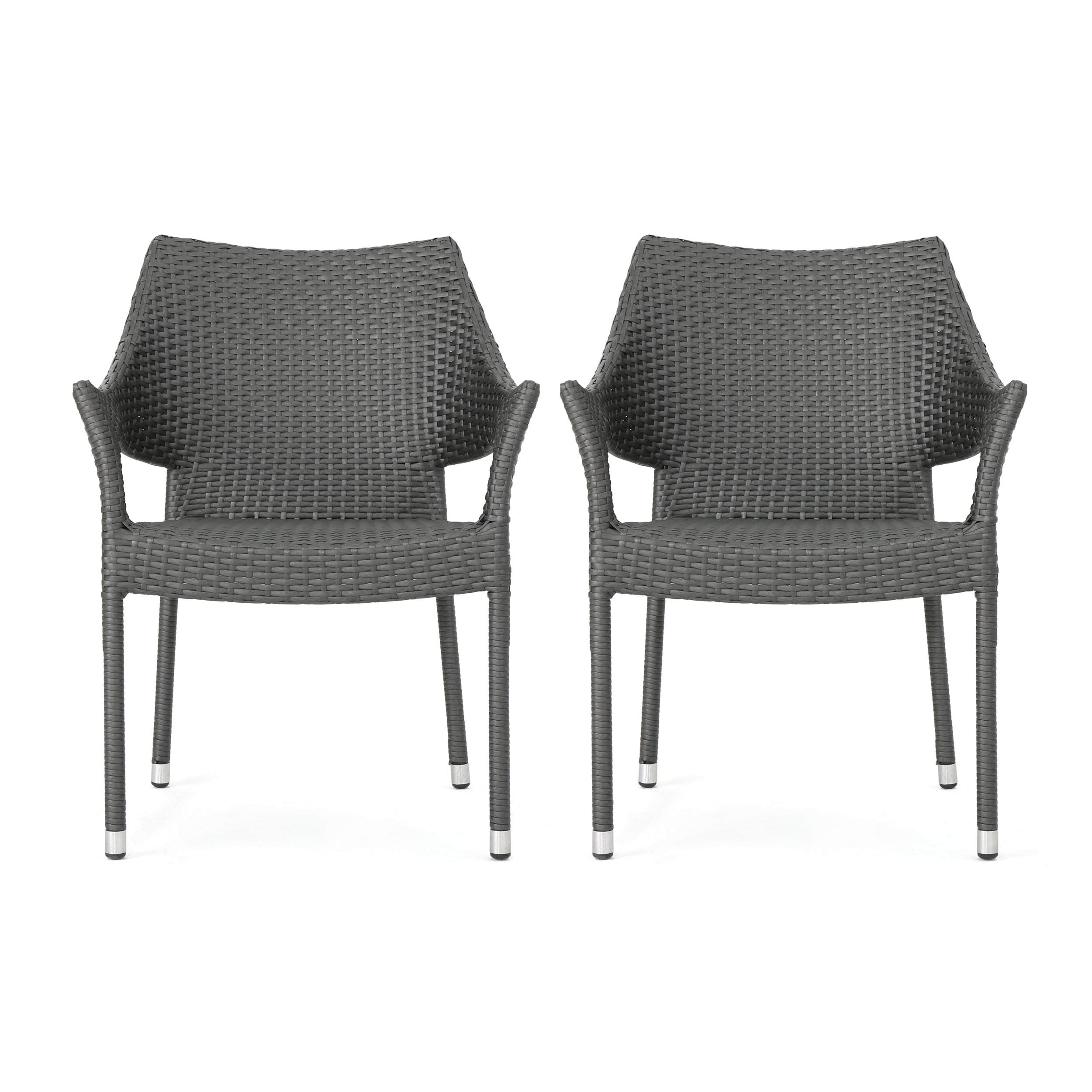 Alameda Modern Outdoor Gray Wicker Stacking Armchairs Set of 2 Default Title