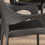 Tills Outdoor 7 Piece Gray Wicker Oval Dining Set with Stacking Chairs