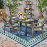 Kelly Outdoor Wood and Wicker Expandable Dining Set